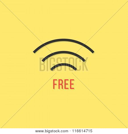 free wifi sign isolated on yellow background