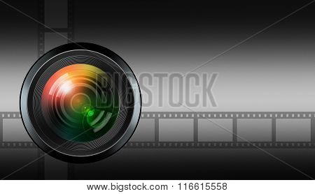 Photographic Lens On Black Background