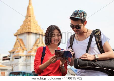 Couples Of Asian Younger Traveling Man And Woman