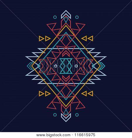 Vector colorful decorative ethnic pattern. Boho style
