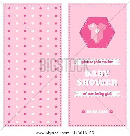 Baby shower card design template. Two-side card. Welcome baby card. Pink card for newborn baby girl. Design elements for card, invitation, banner, flyer. Flat style vector illustration.