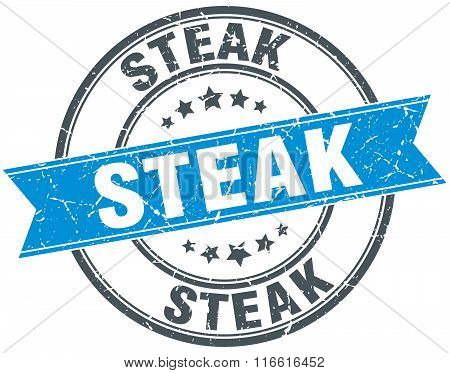 steak blue round grunge vintage ribbon stamp