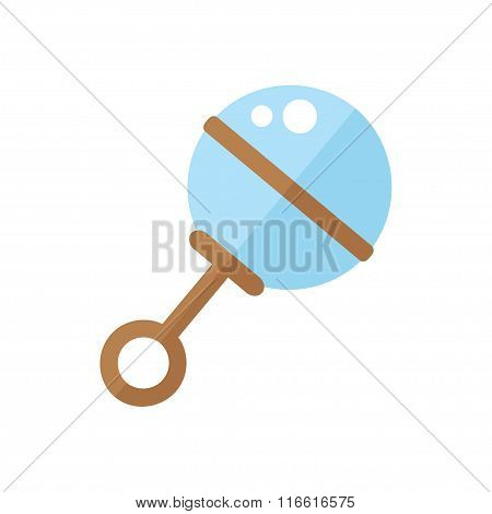 Baby rattle isolated icon on white background.