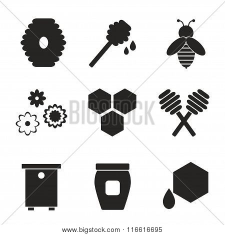 Beekeeping black silhouette isolated icons on white background.