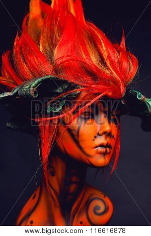 Mannequin in red wig