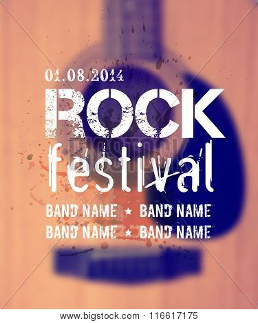 Vector Blurred Background With Acoustic Guitar. Rock Festival Design Template with place for text.