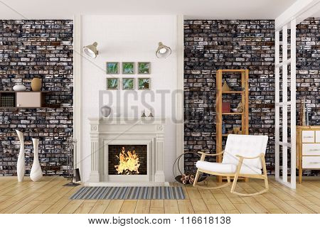 Interior Of Living Room With Fireplace 3D Rendering