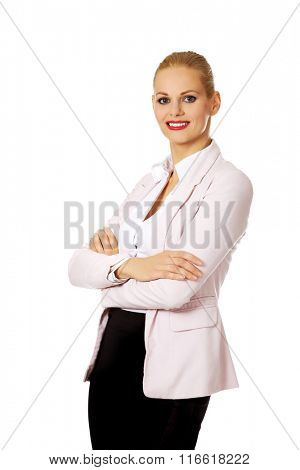 Young smile business woman with covering arms