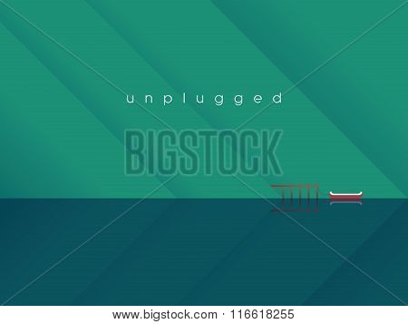 Mountain lake landscape vector background with canoe attached to a pier. Pure, tranquil, calm scener