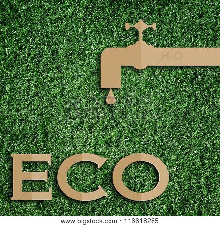 water concept. Paper cut of eco on green grass.