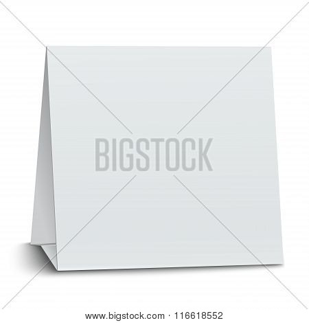 Square Blank Paper Table Card Isolated On White Background