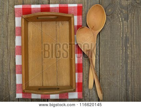 Wooden Tray And Spoons