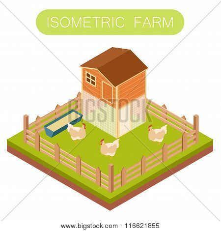 Isometric henhouse with chikens