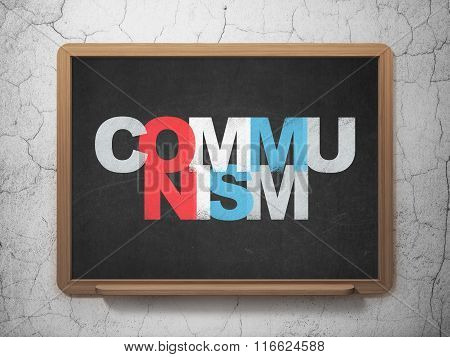 Politics concept: Communism on School Board background