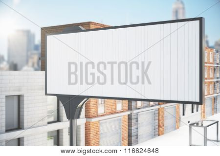 Blank White Billboard On The City Street, Mock Up
