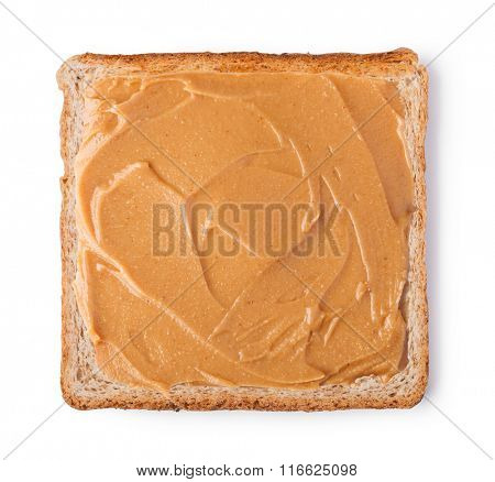 peanut butter on a slice of Toast. Isolated on a white background