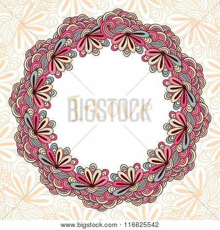 Circle doodle floral ornament. Decorative frame with flowers. Zentangle cover in vector