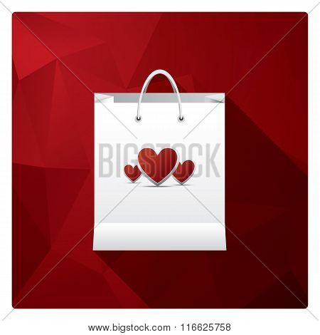 Valentine's day sales or shopping posters with shop bags and different symbols of love.