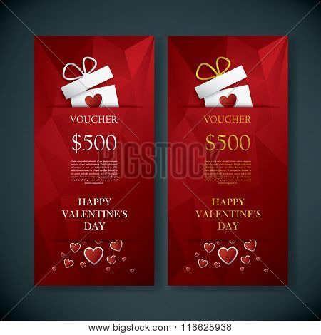Valentine's day gift card voucher template with traditional background, present and space for your t