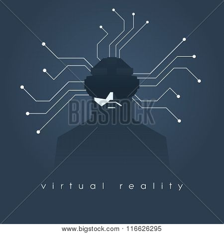 Virtual reality concept illustration with man and headset glasses. Dark background, lines as symbol