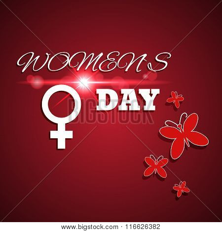 International Women's Day Red Card With Lens Flare Eps 10 Vector. March 8