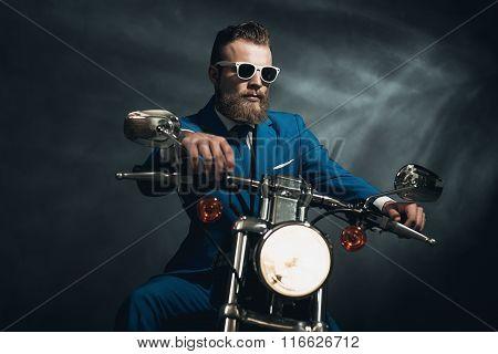 Stylish Trendy Man On A Motorcycle