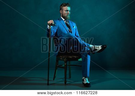 Elegant Retro Style Gentleman With A Cane