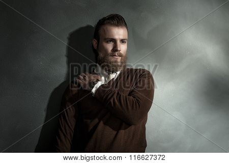 Pensive Handsome Bearded Young Man