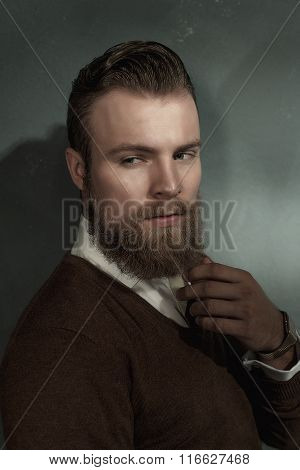 Thoughtful Worried Bearded Young Man