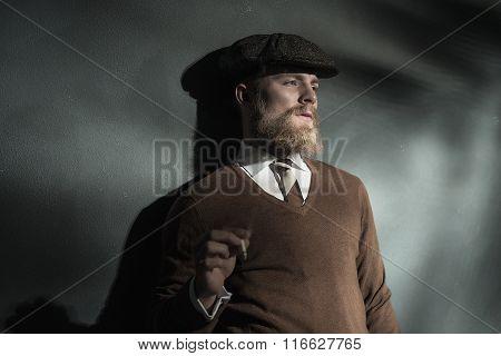 Trendy Man Smoking A Cigarette