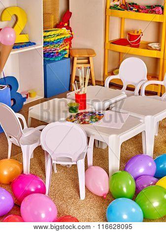 Interior of art class room in preschool  kindergarten.