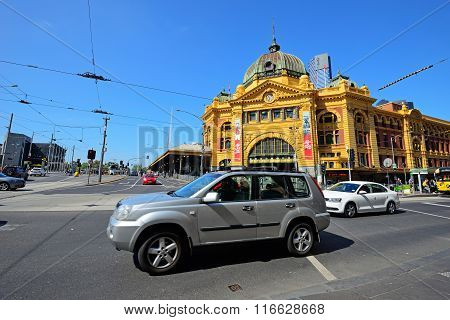 Melbourne, Australia - October 24, 2015: People And Commuters On The Street Near The Flinders Street