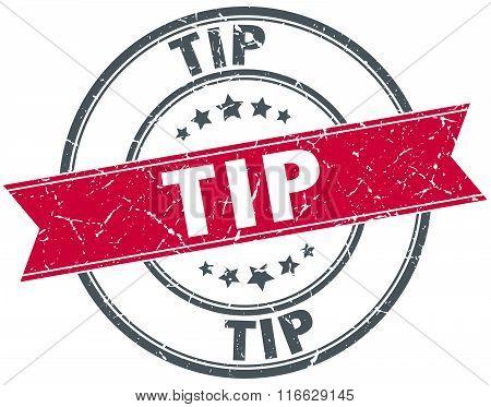 Tip Red Round Grunge Vintage Ribbon Stamp