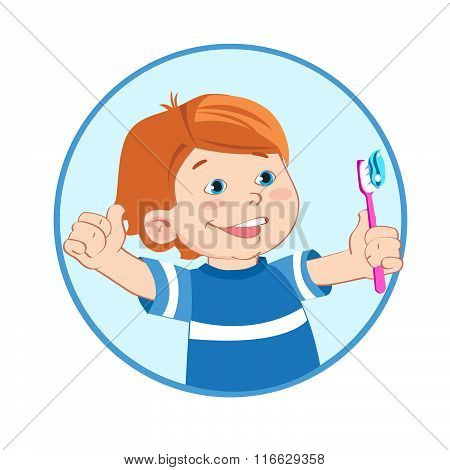 Boy With A Toothbrush In Hand. Boy Giving A Thumbs Up Sign Gesture. Brush Teeth.