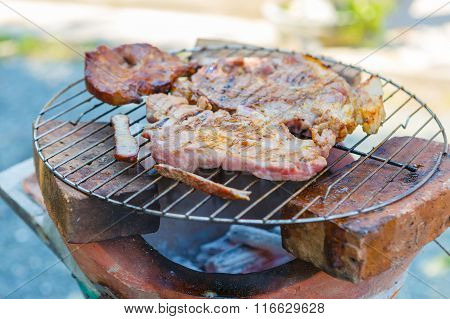 Thai Style Bar-b-q Or Bbq With Kebab Cooking