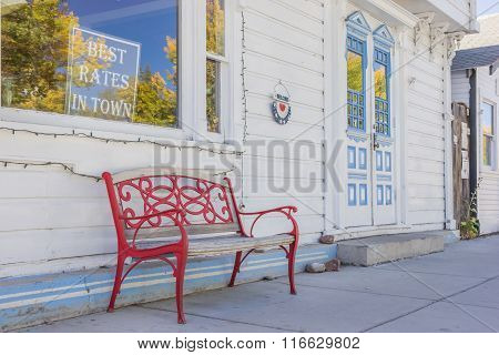 Bench In Front Of A Hotel In Bridgeport, California