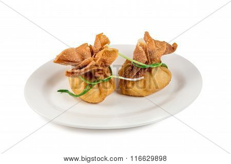 the beef meat with broth baked in dough pouches beautifully elegant gourmet food recipe idea still l