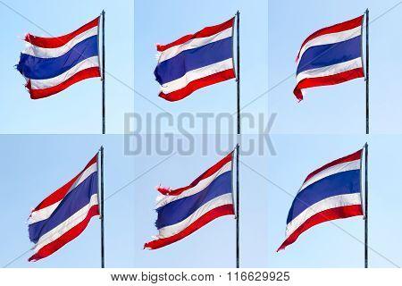 Thailand Flag Flying On Top Flagstaff Set