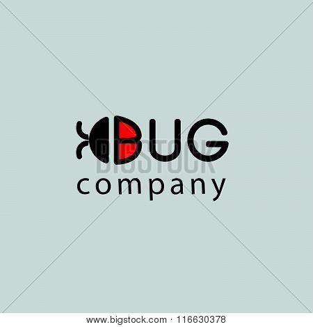 Vector flat bug logo template.