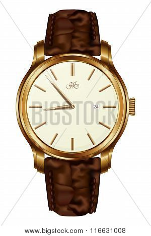 Classic Analog Men's Wrist Watch. Realistic Vector Isolated Image
