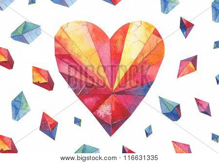 polygon watercolor heart .Diamond shape.