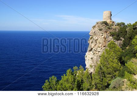 Picturesque sea landscape with fort ruins. Mallorca, Spain