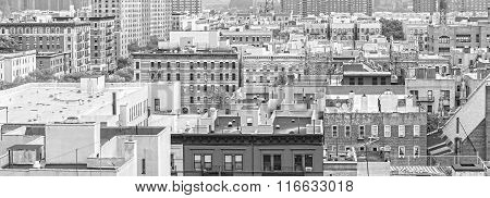 Black And White Panorama Of Harlem And Bronx, New York, Usa