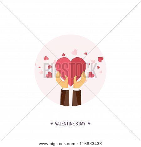 Vector illustration. Flat background with hand and heart. Love, hearts. Valentines day. Be my valent