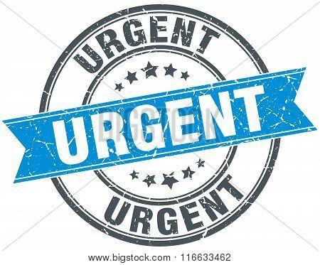 Urgent Blue Round Grunge Vintage Ribbon Stamp