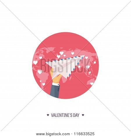 Vector illustration. Flat background with envelope, paper plane. Love, hearts. Valentines day. Be my