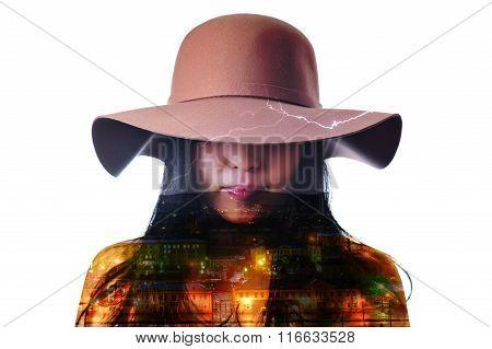 Double exposure portrait of a woman