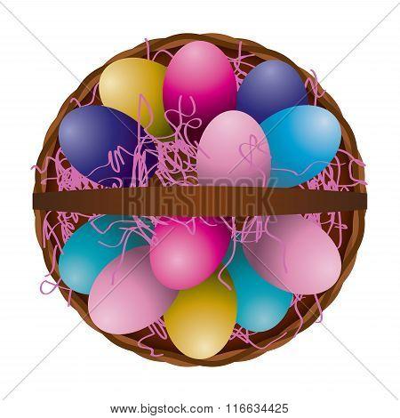 Easter Egg Basket Aerial View Illustration