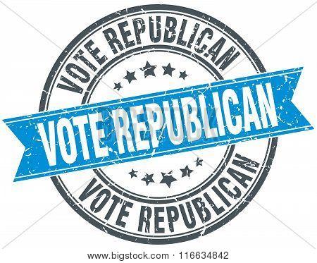 Vote Republican Blue Round Grunge Vintage Ribbon Stamp