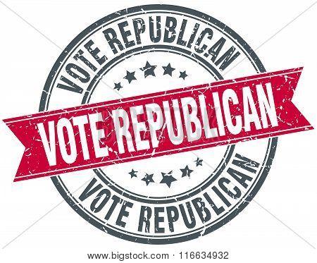 Vote Republican Red Round Grunge Vintage Ribbon Stamp